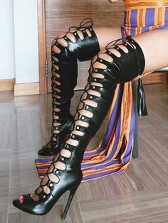 """Nelly Maneater Black Open Adjustable Lace Up Thigh High Boot 4.75"""" Heel"""