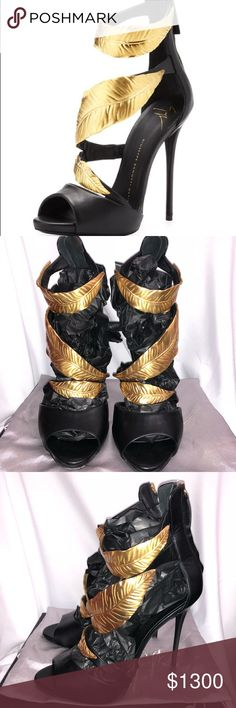 Guiseppe Zanotti Hold Strap Sandals 100% Authentic and purchased from Sacks at the Beverly Center in LA  Comes with original box that shows some wear and tear. Also comes with duster bag  The shoes and leaves don't have any thing wrong but the heal pads need to be replaced.   Only worn 3 tines but I walk heavy😬 Giuseppe Zanotti Shoes Heels