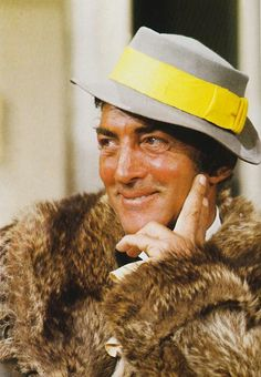 Dean - Mr. Cool - nice hat and fur coat - undated (The Dean Martin Show) -MReno