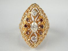 Vintage Diamond and Garnet Cocktail Ring  0.55 by lonestarestates, $745.00