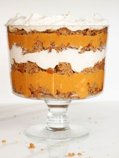 A Pumpkin Trifle recipe with layers of pumpkin butterscotch pudding, whip cream, and spice cake! Pumpkin Butterscotch Spice Cake Trifle!
