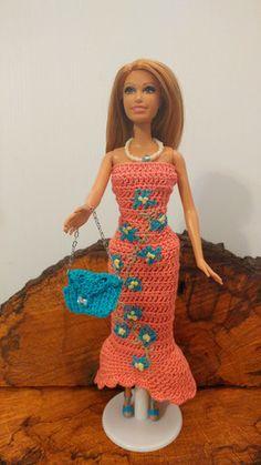 Doll Barbie Rose Evening Dress