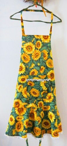 Sunflowers Apron Handmade One Size | luvncrafts - Accessories on ArtFire