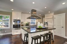 Transitional Kitchen with Smooth 2-Panel Arch Top V-Groove Solid Core Primed Molded Interior Door Slab, Flat panel cabinets
