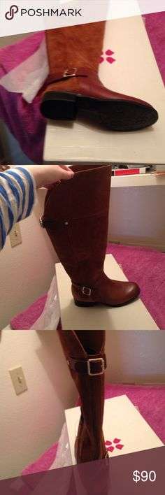 """Nwt naturalizer caramel over knee boots 6 w calf Stupidly ordered a 6 instead of a 10. Open to trades for wide calf boots in a 10. These are the Naturalizer July over the knee wide calf boots  caramel color, sz us6. Only unpacked 1 boot. Have box & original wrapping. Leather upper in knee high riding boot style. Adjustable straps at calf and ankle. Elastic goring strip at rear. Soft textile lining with cushioned insole. n5 comfort technology. Rubber outer sole. Heel 1"""" circumference 16 buy…"""