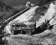 Sicily, Summer 1943: a British 4.5 inch Medium Field Gun rounding a difficult bend in the hills between Scilla and Palmi during the operations after the Allied landing in Sicily.