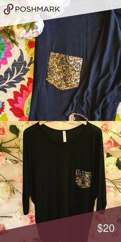 SALEGold Pocket Tee Really cute Black Tee with gold sequin pocket and dolman sleeves. Only worn one time. Fashionomics Tops Blouses