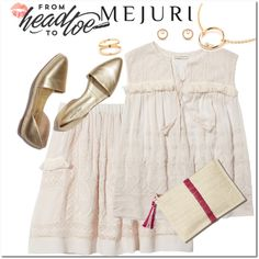 How To Wear Creamy Cotton & Gold Outfit Idea 2017 - Fashion Trends Ready To Wear For Plus Size, Curvy Women Over 20, 30, 40, 50