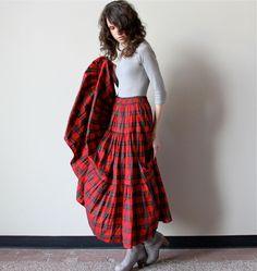 Boho Gypsy Maxi Skirt, 80s 90s grunge red tartan plaid christmas color tiered ankle length full skirt, Victorian steampunk frock. $60.00, via Etsy. My kinda skirt!