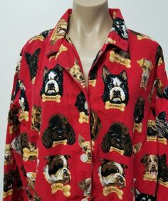 Nick & Nora Women's Size XXL Red Pajama Top Shirt Dogs Milk Bone Sleepwear #NickNora #PajamaTop