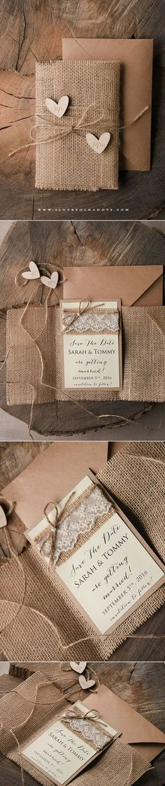 Lovely Wedding Save the Date Card with wooden tags