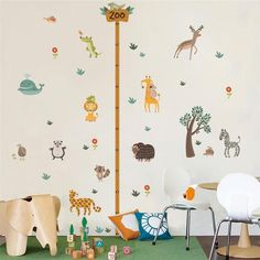 Animal Wall Stickers Monkey Decals Pirate Height Chart Jungle Nursery Baby Room
