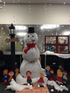 Christmas Winter Wonderland Snowman And Gingerbread House