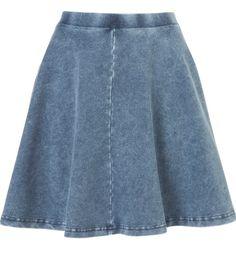 Blue denim skater skirt-new look