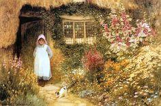 The Puppy (w/c) Wall Art & Canvas Prints by Arthur Claude Strachan Cottage Art, Painted Cottage, Storybook Cottage, Cottage Gardens, Virtual Art, Cottage Exterior, Cool Landscapes, Landscape Paintings, Colorful Garden