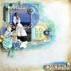Vintage mixedmedia scrapbok Layout with wedding picture, layers, cherish, wedding, ślub, scrapbooking, blue, brown colours,
