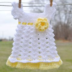 Free Crochet Baby Dress Patterns | Baby Girl Newborn Outfit Dress Headband White Yellow Shower gift Photo ...