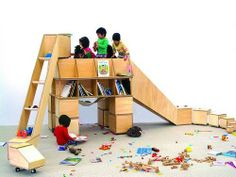 Casaurus Bookshelf And Play Structure By Koichiro Hoshino - fort in the middle. :)