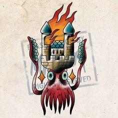 Towerpus flash I will bring for Frankfurt Tattoo Convention. Email Jesper.bram@gmail.com if you want to get tattooed #bramtattoo #tattooffm #beardotattoo #jesperbram #tattooflash #twistedtraditional #colortattoo