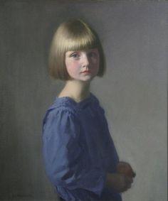 Louis Ginnett (1875-1946) Portrait of a girl in a blue dress 27 x 23in ...
