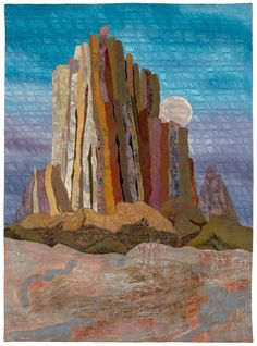 Moonrise, Shiprock by Patricia Gould Angel Fire Designs   http://www.angelfiredesigns.com