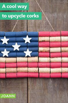 Celebrate the summer and show your spirit! Use those leftover corks for a fun, festive flag. Easy Projects, Craft Projects, Craft Ideas, Diy For Kids, Crafts For Kids, Cork Wood, Cork Ideas, Wine Bottle Corks, Wood Stars