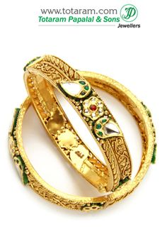 22K Fine Gold Antique Kada With Semi Precious Stones - Set of 2 (1 Pair) - GK439 - Indian Jewelry from Totaram Jewelers