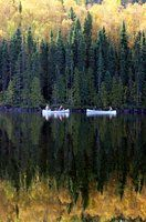 reminds me of camping in Wisconsin although this looks like it must me out west...there's nothing like being in a canoe in the early morning on the lake, hearing the loons and the gentle splash of the paddle.