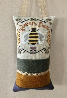 Cross Stitch Queen Bee, Hanging Pillow, Finished.
