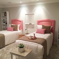 غرفة بنات جميلة - Architecture and Home Decor - Bedroom - Bathroom - Kitchen And Living Room Interior Design Decorating Ideas - Twin Girl Bedrooms, Girls Bedroom, Kids Room Design, Dream Rooms, House Rooms, Home Decor Bedroom, Girl Room, Decoration, Inspiration