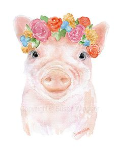 Pig Flowers Watercolor - - Giclee Print - Piglet Nursery Art - Farm Animal Farmhouse Decor Schwein Blumen Aquarell - 5 x 7 - Giclée-Druck - Kunst Ferkel Kinderzimmer Kunst - Bauernhof Tier Bauernhausdekor Pig Flowers Watercolor Giclee Print Art Piglet Watercolor Flowers, Watercolor Paintings, Watercolor Canvas, Gouache Painting, Spray Painting, Arte Sketchbook, Pig Art, Dibujos Cute, Nursery Art