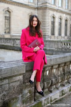 streetstyle outside Dior #pfw #paris pinksuit image by StunningStreetstyle