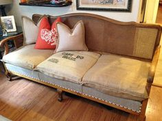 Shop for sofa on Etsy, the place to express your creativity through the buying and selling of handmade and vintage goods. Upholstered Furniture, Painted Furniture, Furniture Design, Lounge Suites, Wicker Sofa, Settees, Vintage Sofa, Jacobean, Queen Anne