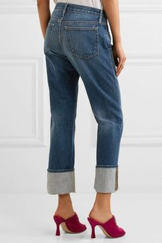 FRAME - Le Oversized Cuff High-rise Straight-leg Jeans - Blue - 26