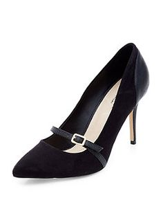 Black Buckle Strap Snakeskin Panel Pointed Court Shoes  | New Look