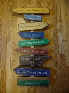 A unique, handcrafted, rustic directional board sign. This is a custom made sign, so please email to work out details before you purchase. The pictures represent distances to a specific destination/ci Travel Gallery Wall, Wood Yard Art, Directional Signage, Fun Signs, Garden Signs, Decks And Porches, Stencil Painting, Diy Projects, Pallet Projects