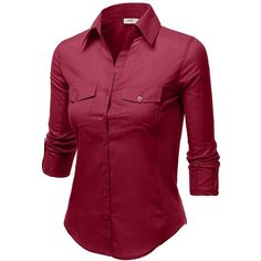 J.TOMSON Womens Button Down Cotton Shirt With Ribbed Side Trim ($6.75) ❤ liked on Polyvore featuring tops, red button up shirt, ribbed top, button up shirts, red cotton shirt and red button down shirt