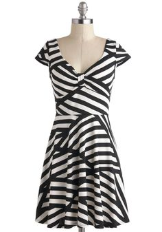 Print and Proper Dress - Short, Black, White, Stripes, Party, A-line, Cap Sleeves, V Neck, Casual