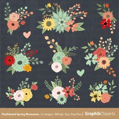 Chalkboard Spring Blossooms Clip Art. FLORAL by Graphikcliparts