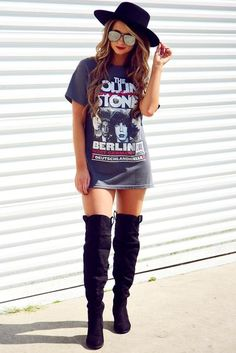The Rolling Stones Band Tee: Gray/Multi … Neo Grunge, Grunge Style, Mode Grunge, Band Shirt Outfits, Dress Outfits, Cute Outfits, Dresses, Shirtdress Outfit, Tee Dress