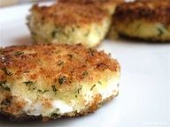 Crispy Fried Goat Cheese Recipe - These hors doeuvres are really easy to throw together on the fly. Basically, you take slices of goat cheese, dip them in beaten egg, then coat them in seasoned panko breadcrumbs, then fry in a little olive oil until crispy. Making these Friday for girls night