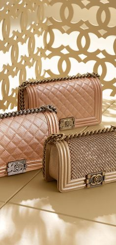 Chanel Cruise 2015 Bag Collection featuring Boy Flaps in Rose Gold Chanel Fashion, Fashion Bags, Fashion Handbags, Fashion Accessories, High Fashion, Chanel 2015, Chanel Chanel, Chanel Dubai, My Bags