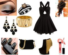 """BLACK & GOLD"" by charlipooh ❤ liked on Polyvore"