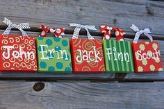 """""""FAMILY ORNAMENTS"""" 4"""" canvas with ribbon $8/each or $7/each when you buy 5 or more (great for individual teacher gifts and friends that love the look of their own name)"""