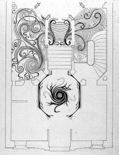 Plan of entry and vestibule showing mosaic floors, Victor Horta.