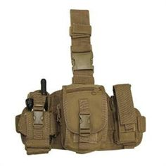 This modular leg rig comes with three detachable pouches: radio pouch, flashlight/pistol mag pouch, and utility pouch. Non-slip padded drop leg platform include
