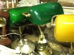 VINTAGE BANKERS LAMPS @ R1300 www.heyjudesbarn.co.za Kitchen Aid Mixer, Kitchen Appliances, Bankers Lamp, Lamps, Vintage, Diy Kitchen Appliances, Lightbulbs, Home Appliances, Vintage Comics
