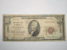 $10 1929 Paterson New Jersey NJ National Currency Bank Note Bill! Patterson! http://www.collectiblenotes.com/10-1929-paterson-new-jersey-nj-national-currency-bank-note-bill-patterson/