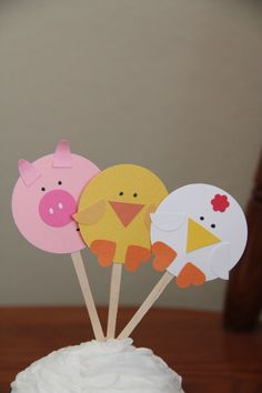 Farm Animal Cupcake Toppers  12 by SprinkledWaffles on Etsy, $10.00