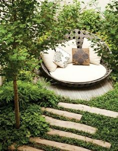 backyard hideaway. perfect for reading. I want this in my backyard please john.